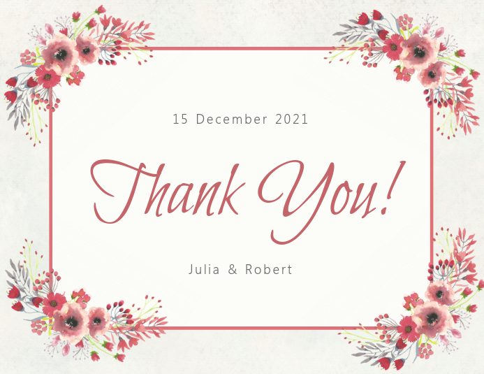 Thank You Cards Template Elegant Copy Of Floral Thank You Card Template