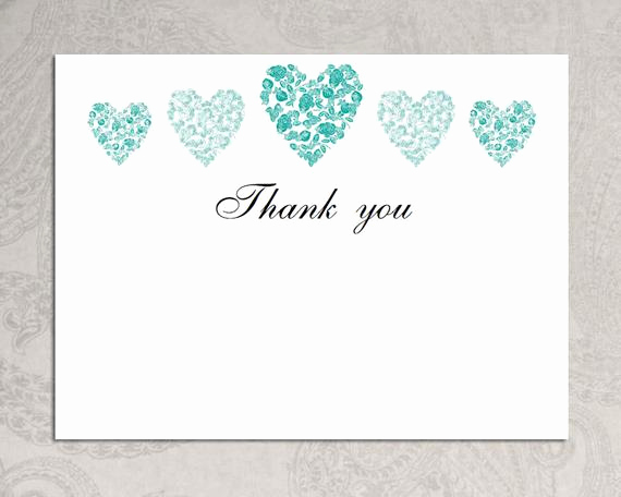 Thank You Cards Template Elegant Items Similar to Thank You Card Template Trio Of Hearts