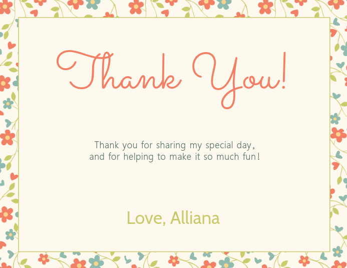 Thank You Cards Template Unique Copy Of Floral Thank You Card Template