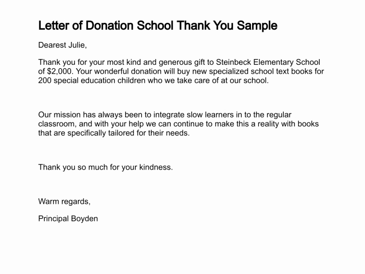 Thank You for Donation Letter Lovely Letter Of Donation