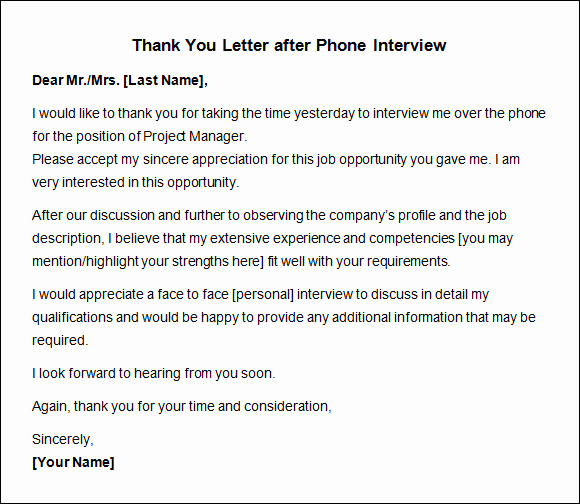 Thank You for Interview Sample Elegant Thank You Letter after Interview 10 Free Download for