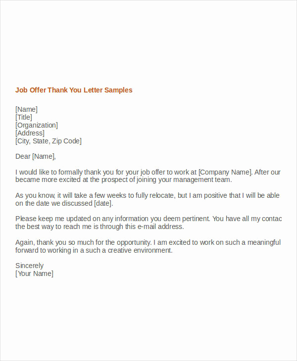Thank You for Job Offer Beautiful Sample Thank You Letter for Opportunity to Bid