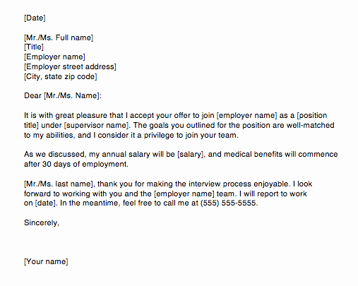 Thank You for Job Offer Best Of Accepting A Job Offer Letter Via Email Sample