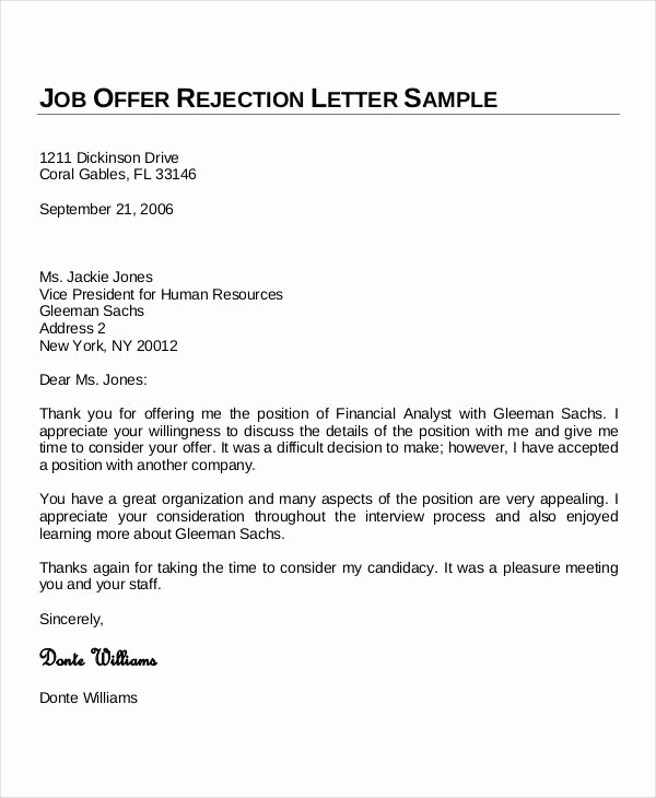 Thank You for Job Offer Elegant Sample Thank You Letters 60 Free Word Pdf Documents