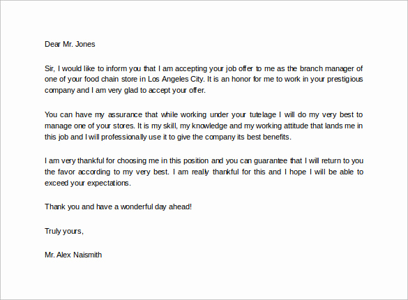 Thank You for Job Offer Inspirational Sample Job Acceptance Letter 14 Free Documents In Pdf Word