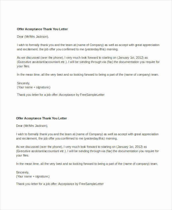 Thank You for Job Offer Lovely Fer Letter Templates In Doc 46 Free Word Pdf