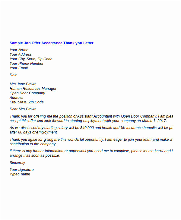 Thank You for Job Offer Unique Sample Thank You Letter for Opportunity to Bid