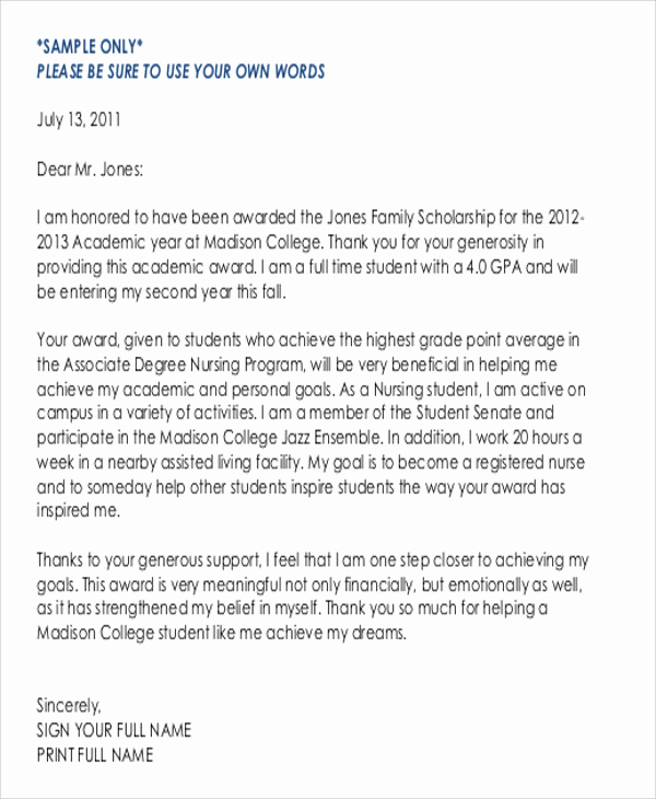 Thank You for Scholarship Inspirational 5 Sample Thank You Letter for Scholarship Award
