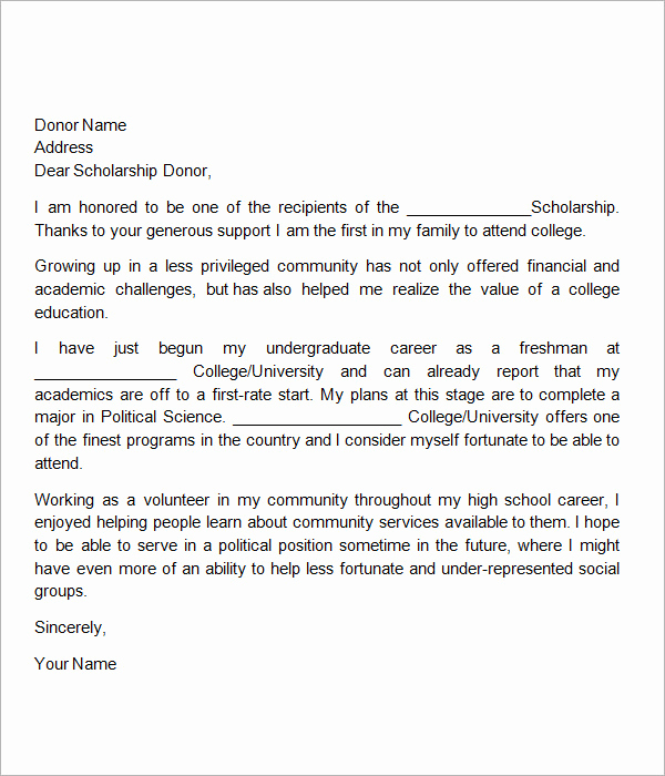 Thank You for Scholarship Unique 13 Sample Scholarship Thank You Letters Doc Pdf