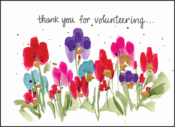 Thank You for Volunteering Fresh Colorful Floral Thank You Notes for Volunteers