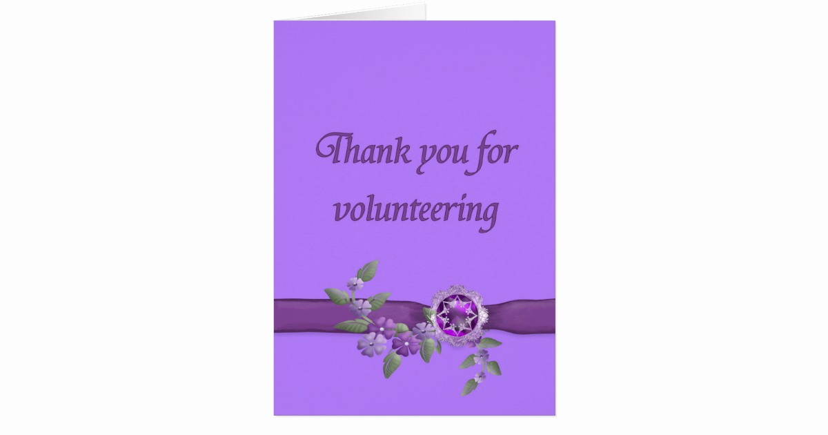 Thank You for Volunteering Lovely Thank You for Volunteering Purple Card