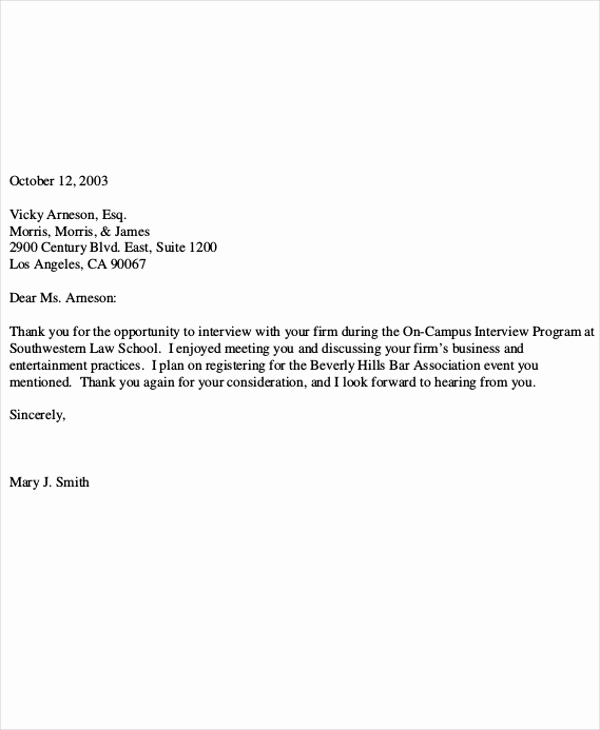 Thank You Letter Business Fresh 9 Post Interview Thank You Letter Template Free Sample
