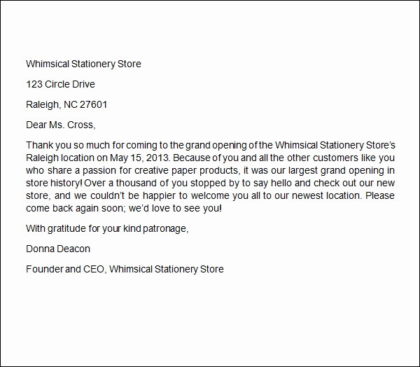 Thank You Letter Business New Sample Business Thank You Letter 6 Documents In Word