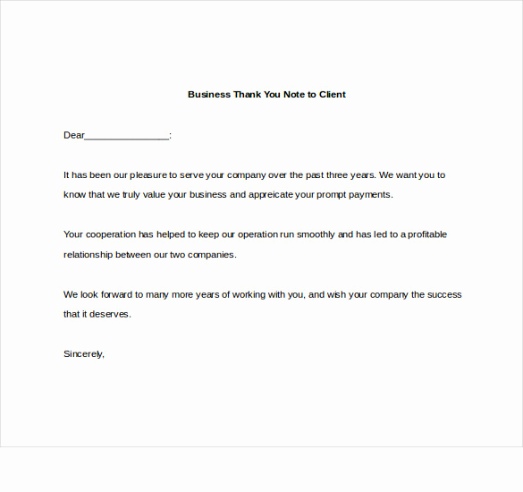 Thank You Letter Business Unique Business Thank You Note – 7 Free Word Excel Pdf format