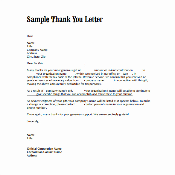 Thank You Letter for Gift Inspirational Thank You Letters for Gifts 11 Download Free Documents