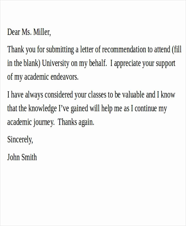 Thank You Letter for Recommendation Fresh 27 Re Mendation Letter Examples