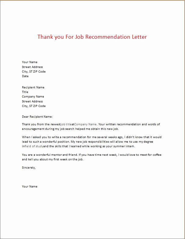 Thank You Letter for Recommendation Inspirational Appreciation Thank You Letters