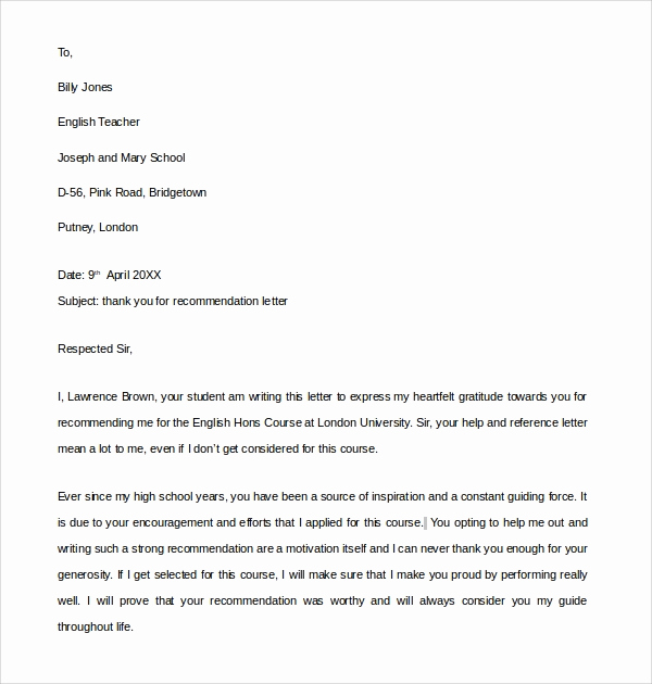 Thank You Letter for Recommendation Luxury Sample Thank You Letter for Re Mendation 9 Download