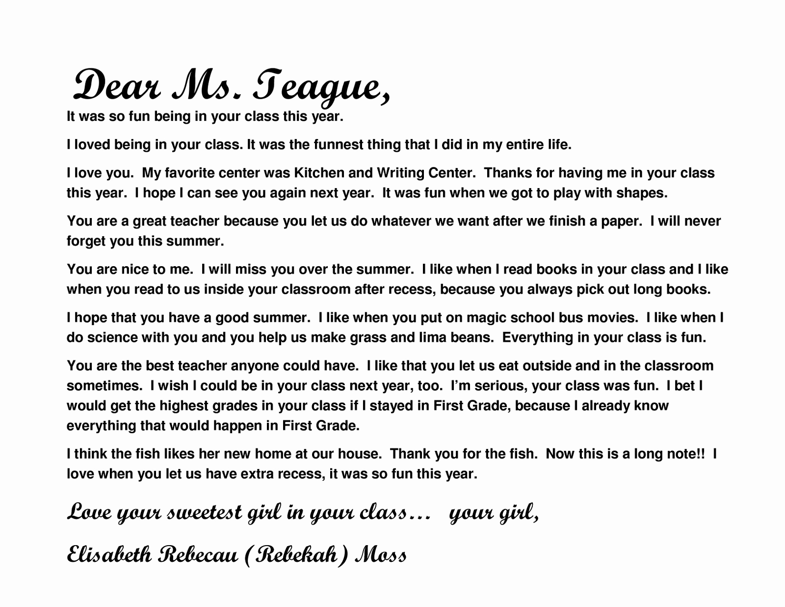 Thank You Letter for Teacher Awesome Moss Moments Teacher Thank You Notes