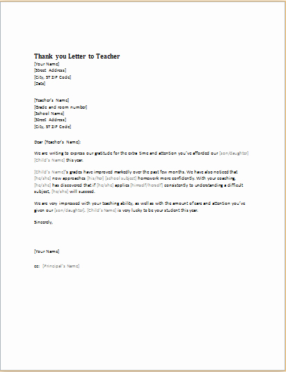 Thank You Letter for Teacher Beautiful Ms Word Student Academic Letter Templates