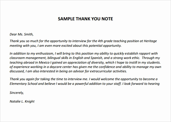 Thank You Letter for Teacher Elegant Sample Thank You Notes for Teachers 6 Documents In Pdf