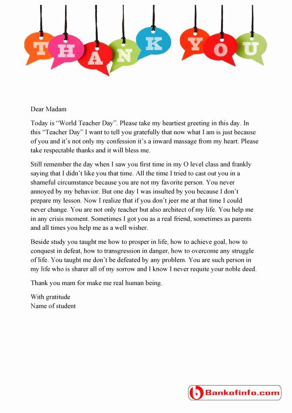 Thank You Letter for Teacher Fresh A Sample Thank You Letter to Teacher From Student for the