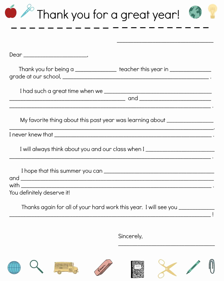 Thank You Letter for Teacher Inspirational End Of Year Teacher Thank You Note