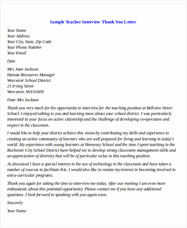 Thank You Letter for Teacher Lovely 40 Sample Interview Thank You Letters