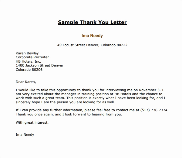 Thank You Letter to Recruiter Elegant 17 Thank You Letter Templates