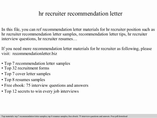 Thank You Letter to Recruiter Lovely Hr Recruiter Re Mendation Letter
