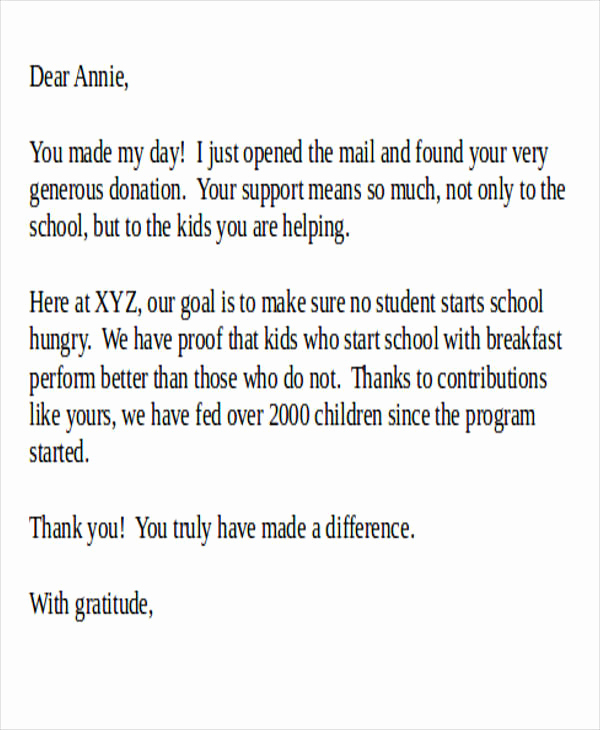 Thank You Letters for Donations Awesome Sample Donation Letter