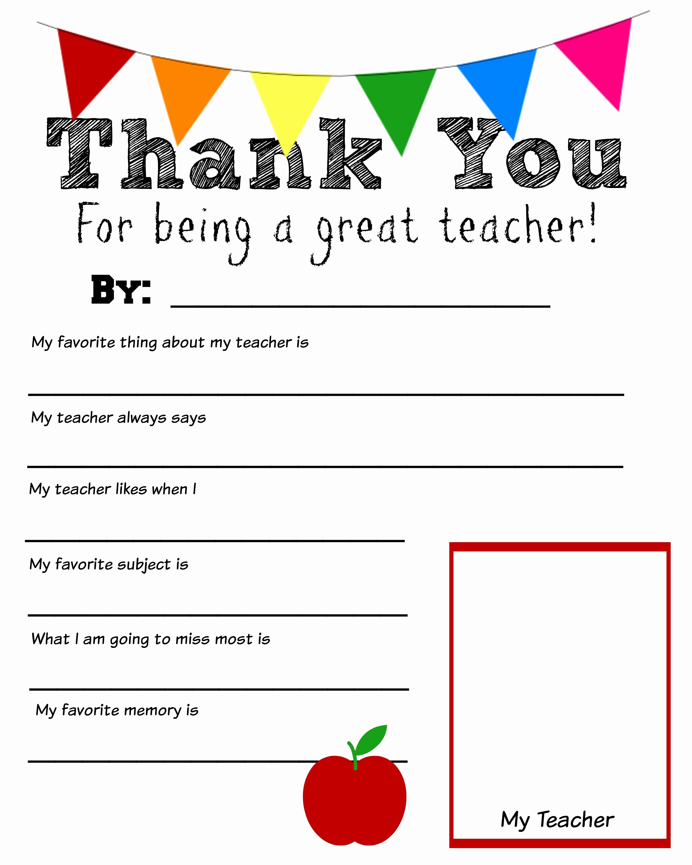 Thank You Letters to Teachers New Thank You Teacher Free Printable School Days