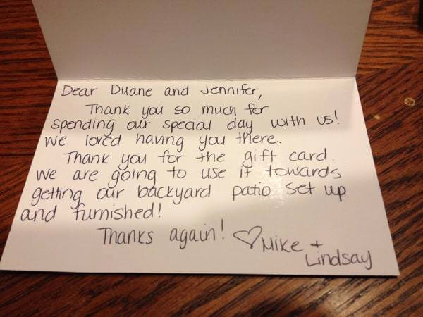 Thank You Note Example Fresh Wedding Thank You Note Examples