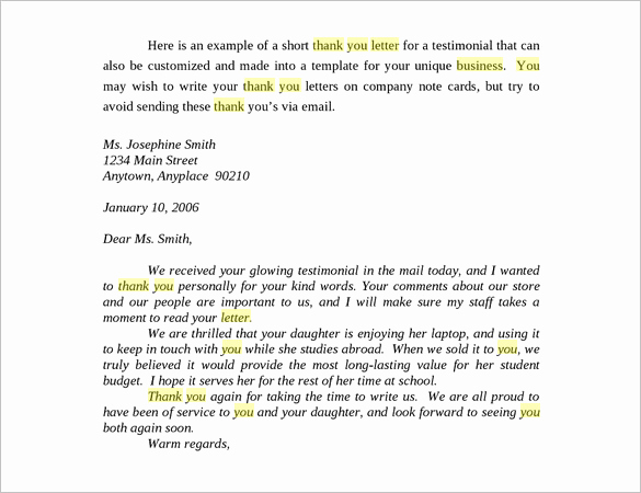 Thank You Note Example Lovely Business Thank You Letter – 11 Free Sample Example