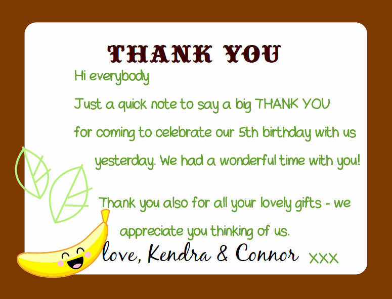 Thank You Note for Dinner Awesome Kandcturn5 – 5th Birthday Monkey Party – Thank You Notes