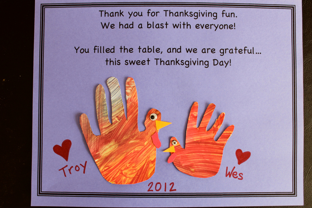 Thank You Note for Dinner Beautiful Easy Thanksgiving Crafts