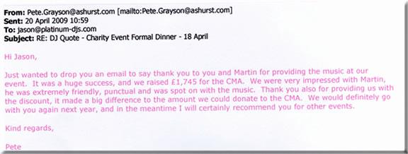 Thank You Note for Dinner Elegant Dj Martin Evans Reviews and Dj Testimonials Wedding Dj