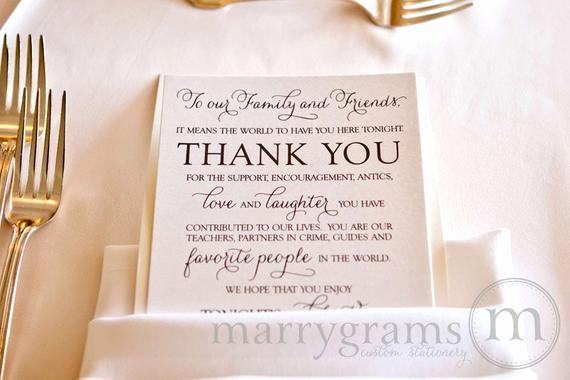 Thank You Note for Dinner Fresh Wedding Reception Thank You Card to Your Guests to Our