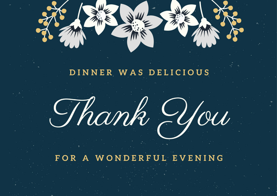 Thank You Note for Dinner Lovely Dinner Thank You Notes