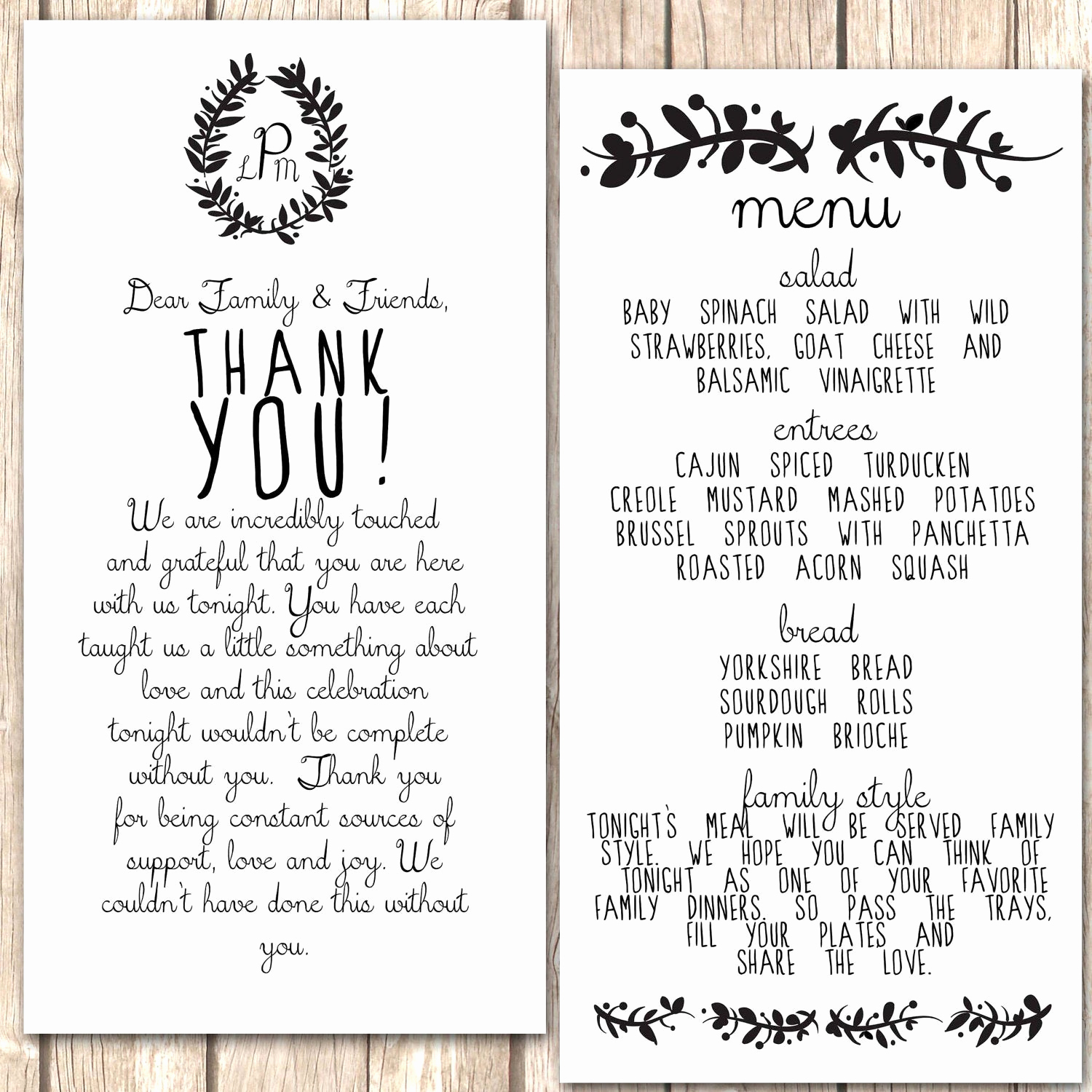 Thank You Note for Dinner Luxury Whimsical Menu and Thank You Card for Wedding by Vivalalovely
