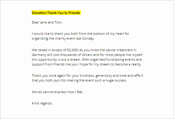 Thank You Note for Donation Luxury Donor Thank You Letter Template – 10 Free Word Excel