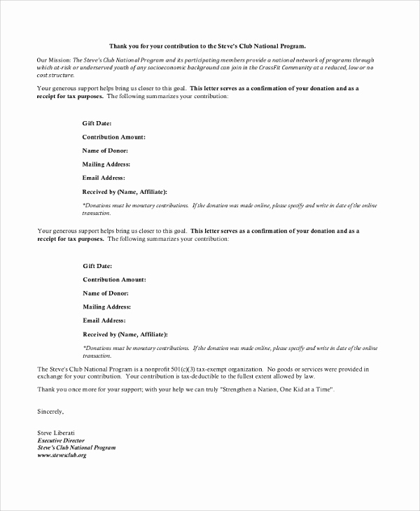 Thank You Note for Donation New Sample Donation Receipt Letter 7 Documents In Pdf Word