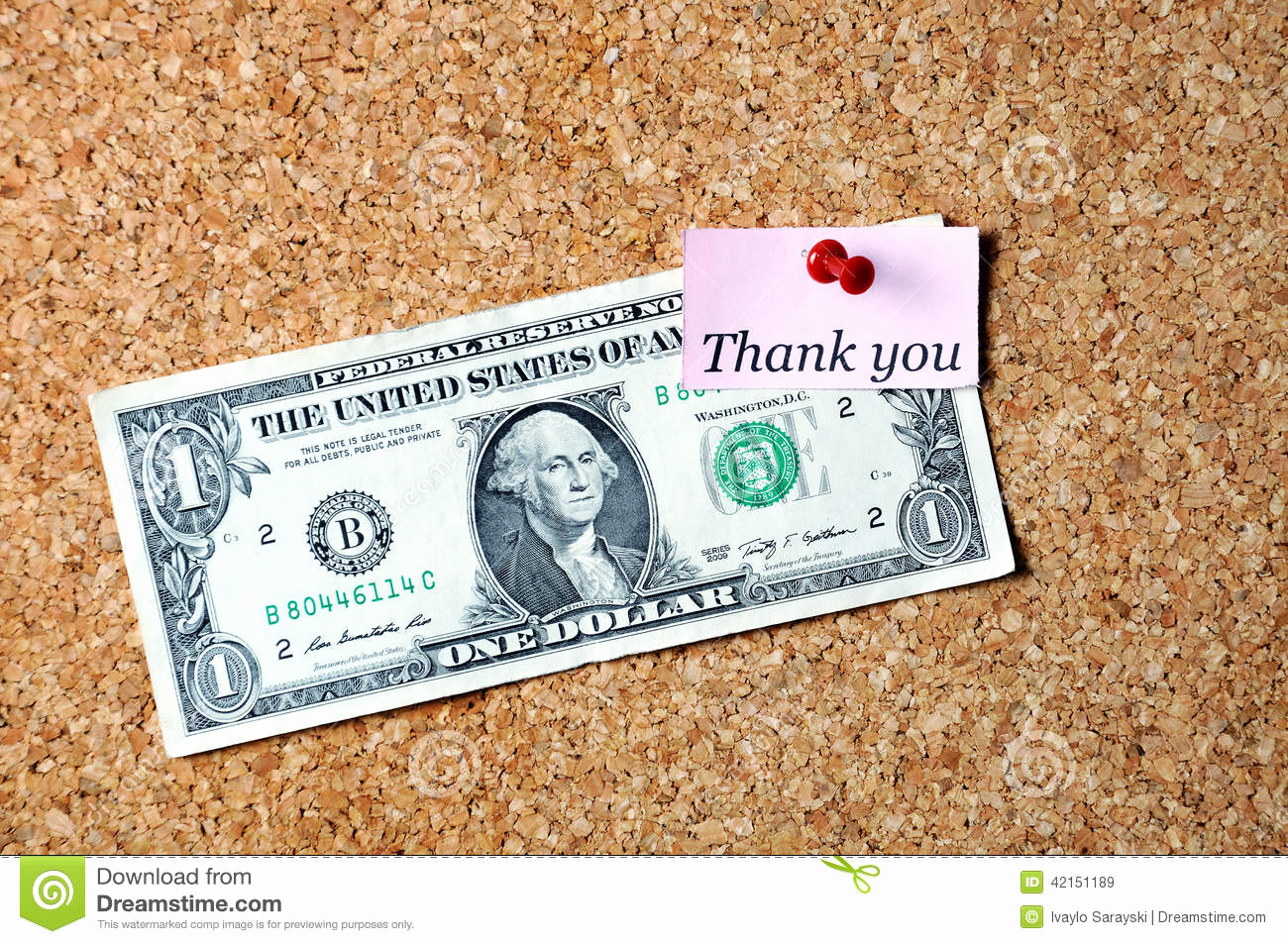 Thank You Note for Money Awesome Thank You Dollar Stock Image