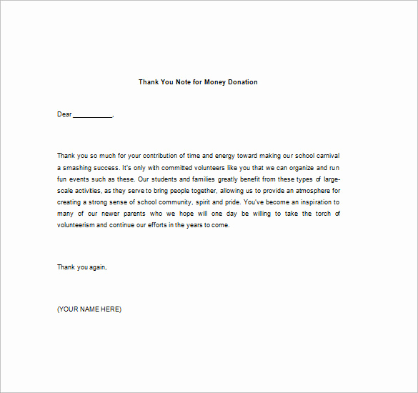 Thank You Note for Money Awesome Thank You Note for Money – 8 Free Word Excel Pdf format