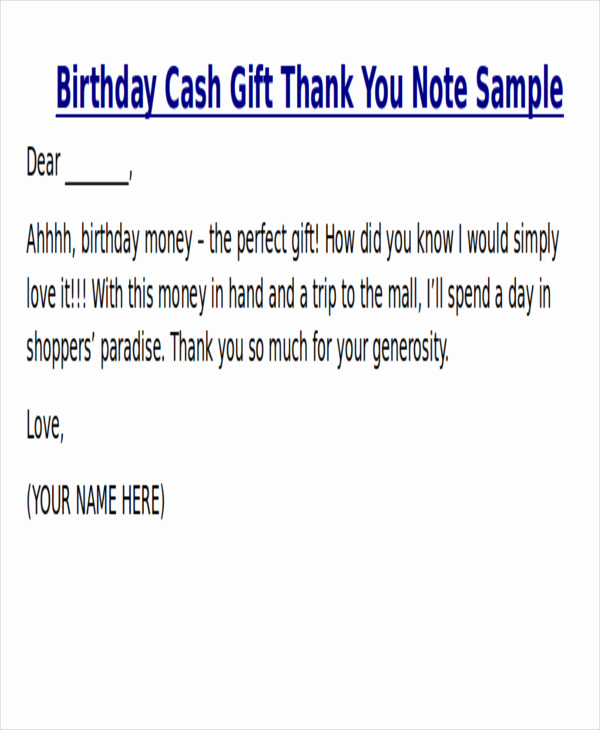 Thank You Note for Money Beautiful Sample Thank You Note for Money 7 Examples In Word Pdf