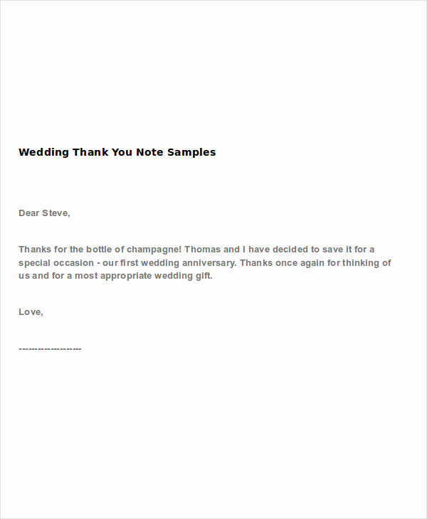 Thank You Note format Awesome 4 Wedding Thank You Note Examples & Samples