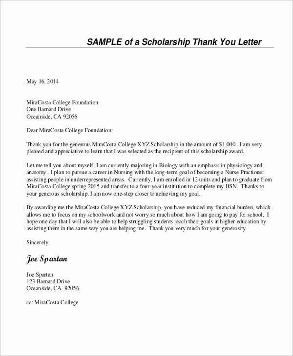 Thank You Note format Beautiful Sample Thank You Letter for Scholarship 7 Examples In