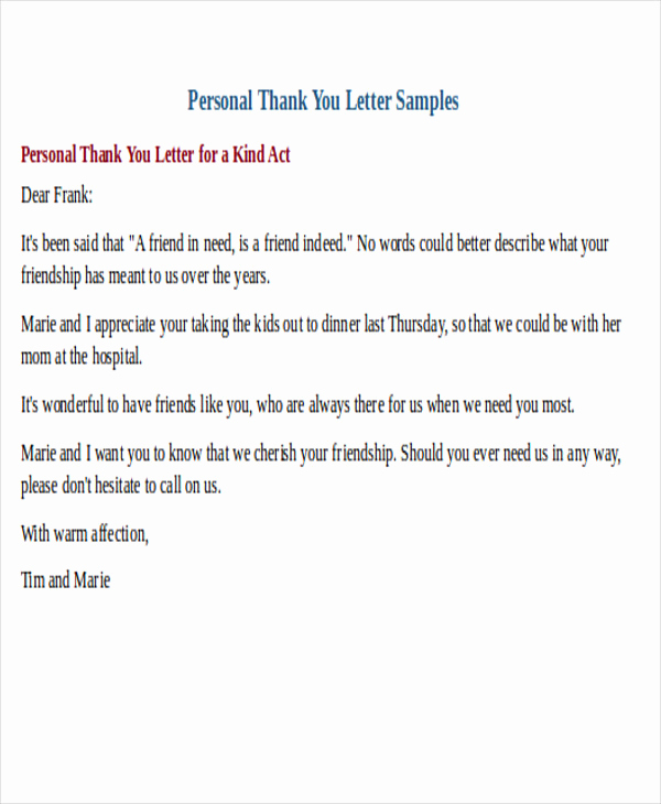 Thank You Note format New 25 Sample Thank You Letter formats