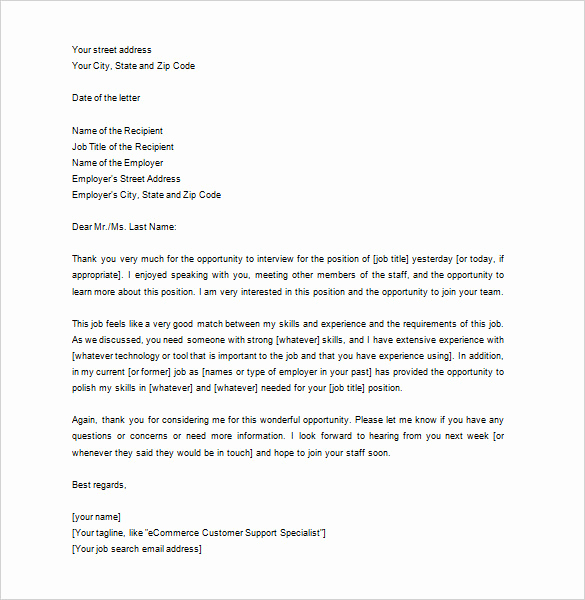 Thank You Note Sample Best Of 12 Thank You Letter after Job Interview Doc Pdf