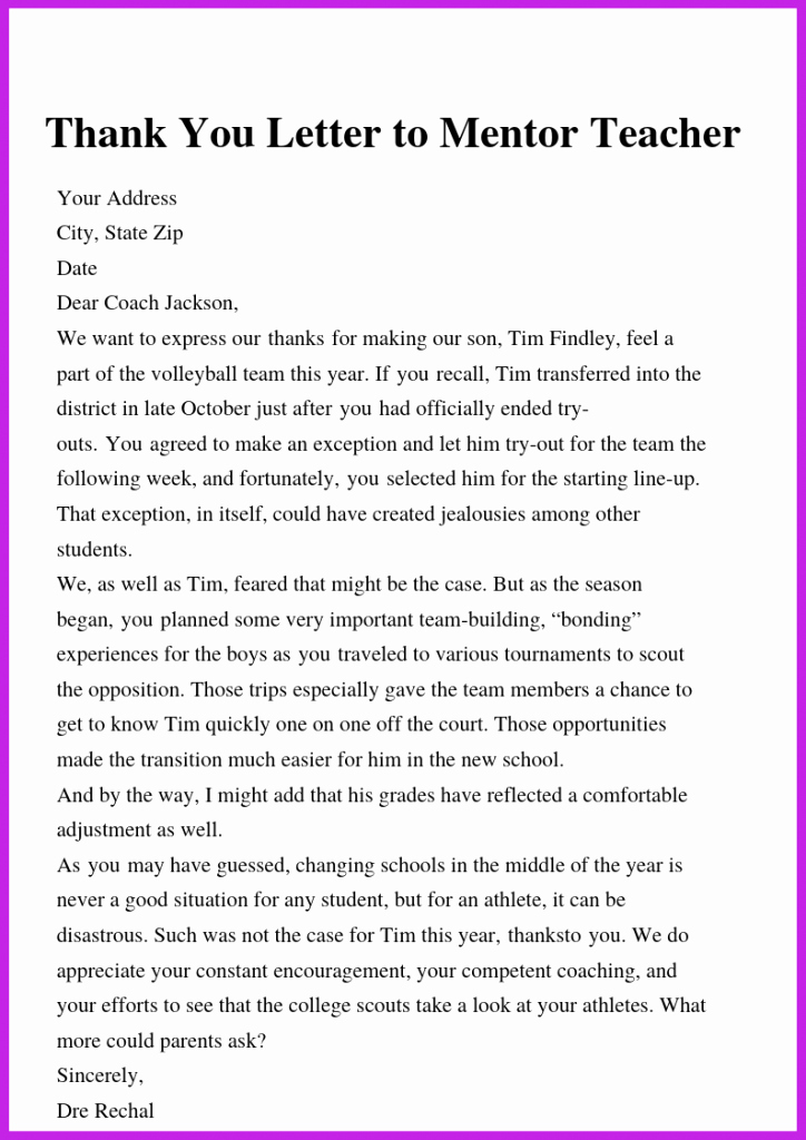 Thank You Note to Mentor Awesome How to Write Thank You Letter to Teacher & Principal
